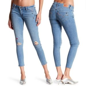 Levi's 535 Stars Hearts Super Skinny Cropped Jeans